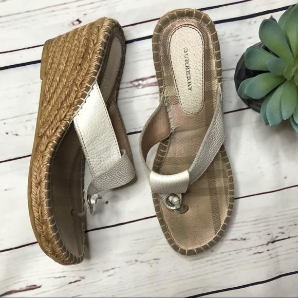 85f539dfca64 Burberry Shoes -  Burberry  sz 39 nova check white espadrille wedge